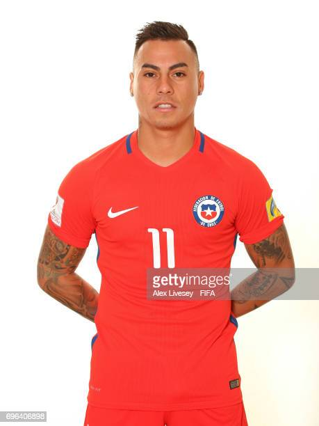 Eduardo Vargas of Chile during a portrait session ahead of the FIFA Confederations Cup Russia 2017 at the Crowne Plaza Hotel on June 15 2017 in...