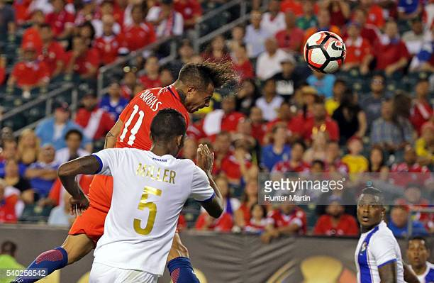 Eduardo Vargas of Chile heads the ball to score the second goal of his team during a group D match between Chile and Panama at Lincoln Financial...