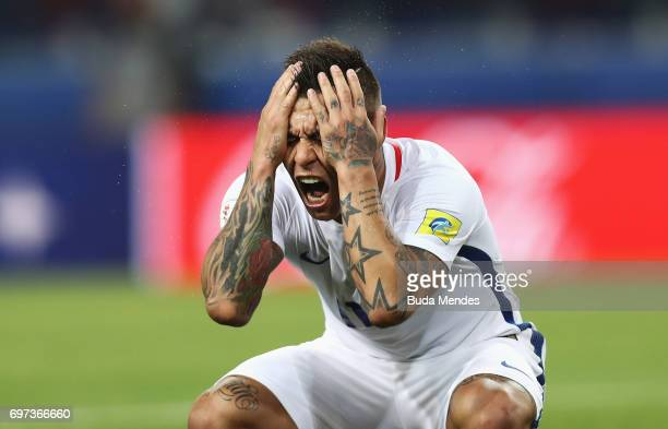 Eduardo Vargas of Chile reacts after having his goal initially dissallowed during the FIFA Confederations Cup Russia 2017 Group B match between...