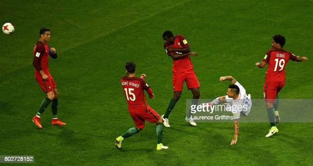 Eduardo Vargas of Chile volleys the ball during the FIFA Confederations Cup Russia 2017 SemiFinal between Portugal and Chile at Kazan Arena on June...