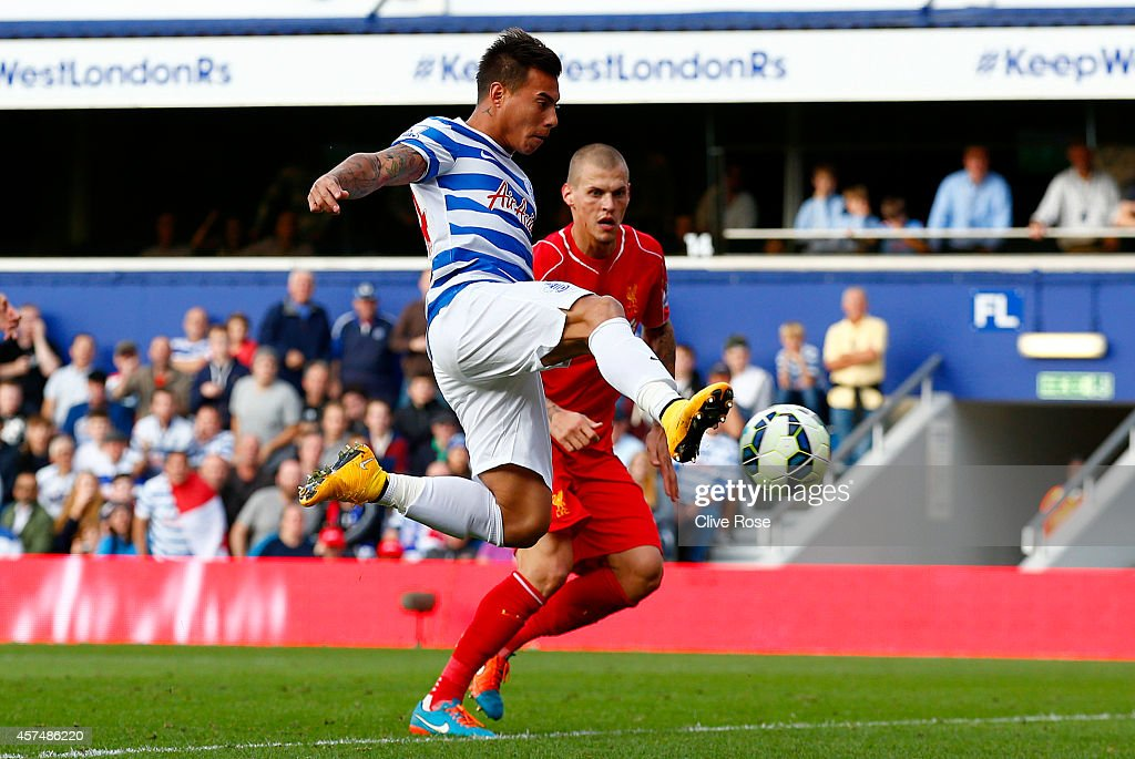 Eduardo Vargas of QPR scores his team's first goal during the Barclays Premier League match between Queens Park Rangers and Liverpool at Loftus Road on October 19, 2014 in London, England.