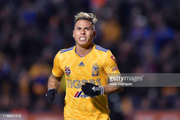 Eduardo Vargas of Tigres celebrates after scoring his team's fourth goal during the 11th round match between Tigres UANL and Queretaro as part of the...