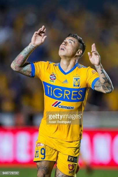 Eduardo Vargas of Tigres celebrates after scoring his team's second goal during the 15th round match between Tigres UANL and Cruz Azul as part of the...
