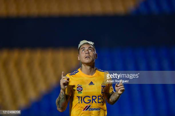 Eduardo Vargas of Tigres celebrates after scoring his team's third goal during the 10th round match between Tigres UANL and FC Juarez as part of the...