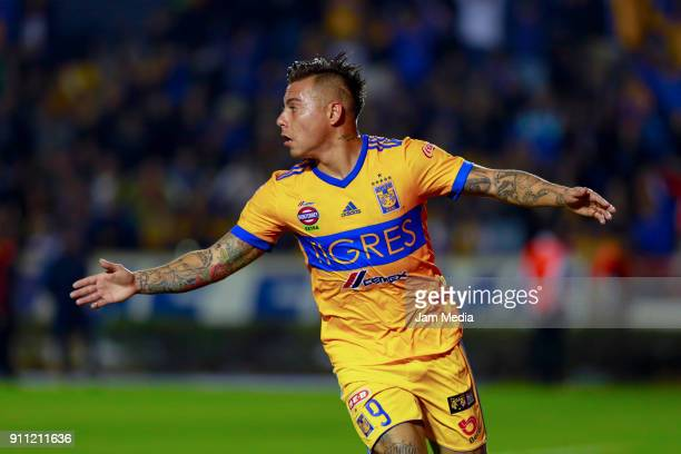 Eduardo Vargas of Tigres celebrates after scoring the first goal of his team during the 4th round match between Tigres UANL and Pachuca as part of...