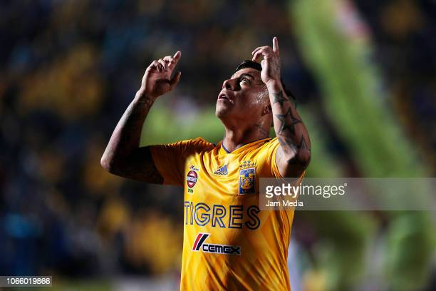 Eduardo Vargas of Tigres celebrates after scoring the second goal of his team during a 16th round match between Tigres UANL and Puebla as part of...