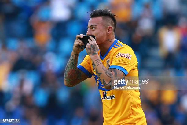 Eduardo Vargas of Tigres celebrates after scoring the second goal of his team during the 15th round match between Cruz Azul and Tigres UANL as part...