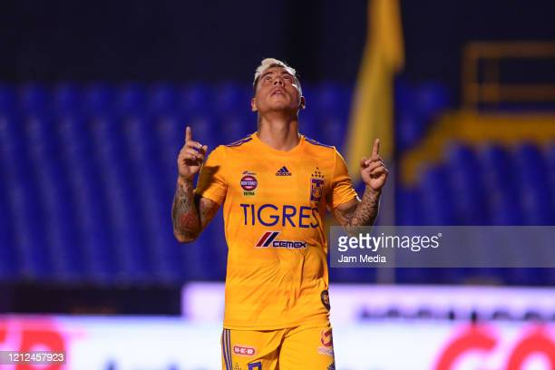 Eduardo Vargas of Tigres celebrates after scoring the third goal of his team during the 10th round match between Tigres UANL and FC Juarez as part of...