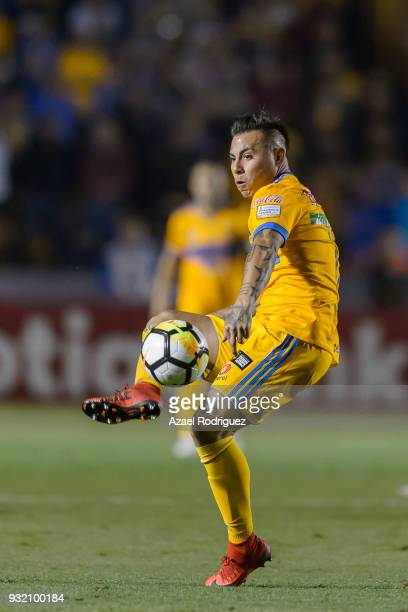Eduardo Vargas of Tigres controls the ball during the quarterfinals second leg match between Tigres UANL and Toronto FC as part of the CONCACAF...