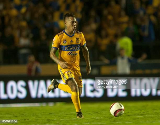 Eduardo Vargas of Tigres drives the ball during the Mexican Apertura football tournament match against Chivas at the Universitario stadium in...