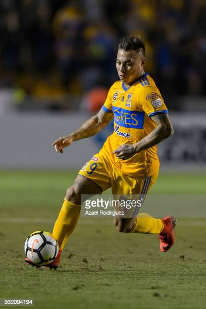 Eduardo Vargas of Tigres drives the ball during the quarterfinals second leg match between Tigres UANL and Toronto FC as part of the CONCACAF...