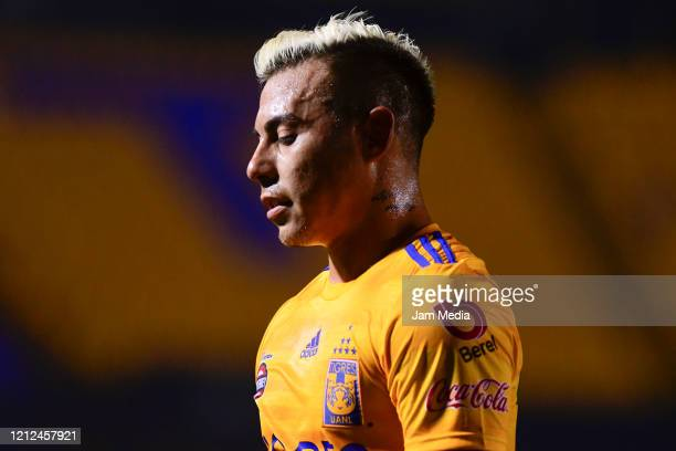 Eduardo Vargas of Tigres looks on during the 10th round match between Tigres UANL and FC Juarez as part of the Torneo Clausura 2020 Liga MX at...