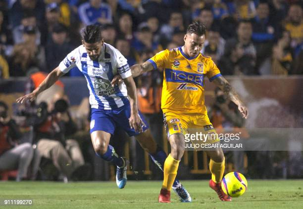Eduardo Vargas of Tigres vies for the ball with Franco Jara of Pachuca during their Mexican Clausura 2018 tournament football match at the...