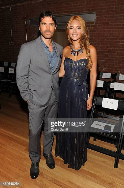 Eduardo Verastegui and Zuleyka Rivera attends the Perry Ellis fashion show during MercedesBenz Fashion Week Spring 2015 at The Waterfront on...