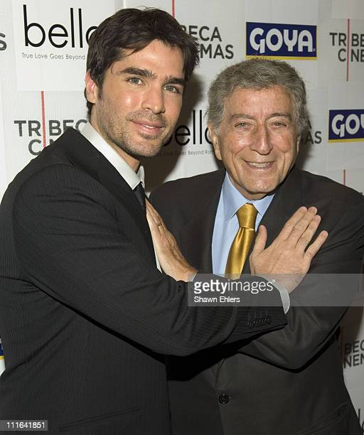 "Eduardo Verastequi and Tony Bennett arrive at the ""Bella"" New York Premiere on October 25, 2007 at Tribeca Cinemas in New York City."