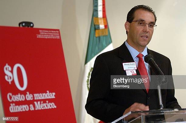 Eduardo Vergar senior vice president international remittance executive with Bank of America announces the company's free nationwide remittance...