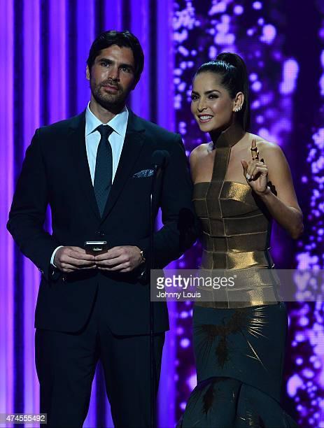 Eduardo Verástegui and Carmen Villalobos on stage during the 2015 Billboard Latin Music Awards presented by State Farm on Telemundo at Bank United...