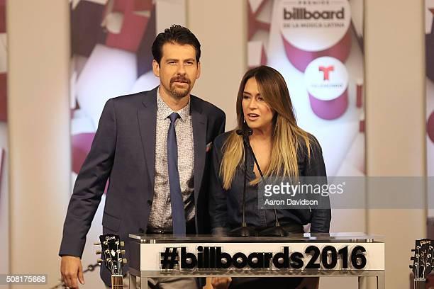 Eduardo Vinegary and Erika de la Vega attend 2016 Billboard Latin Music Awards press conferece at Gibson Guitar Miami Showroom on February 3, 2016 in...