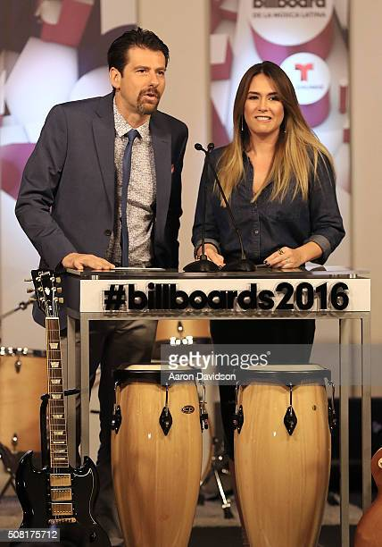 Eduardo Vinegary and Erika de la Vega attend 2016 Billboard Latin Music Awards press conferece at Gibson Guitar Miami Showroom on February 3 2016 in...