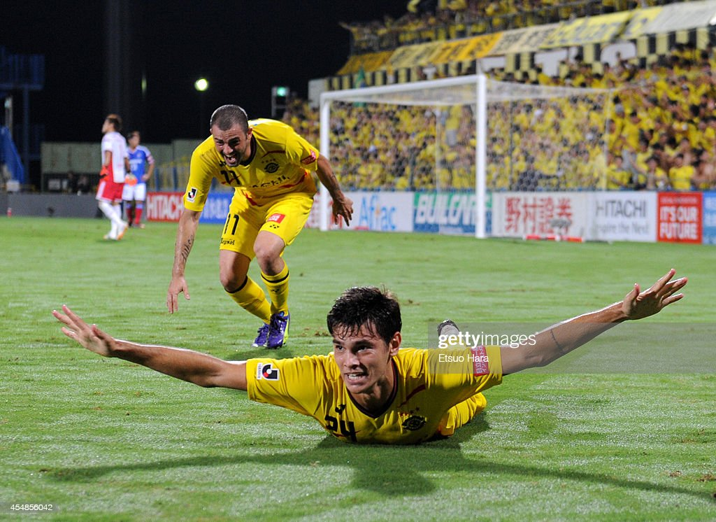 Eduardo, whose real name is Carlos Eduardo Bendini Giusti of Kashiwa Reysol celebrates scoring his team's third goal during the J.League Yamazaki Nabisco Cup quarter final second leg match between Kashiwa Reysol and Yokohama F.Marinos at Hitachi Kashiwa Soccer Stadium on September 7, 2014 in Kashiwa, Chiba, Japan. Kashiwa Reysol won 5-2 on aggregate.