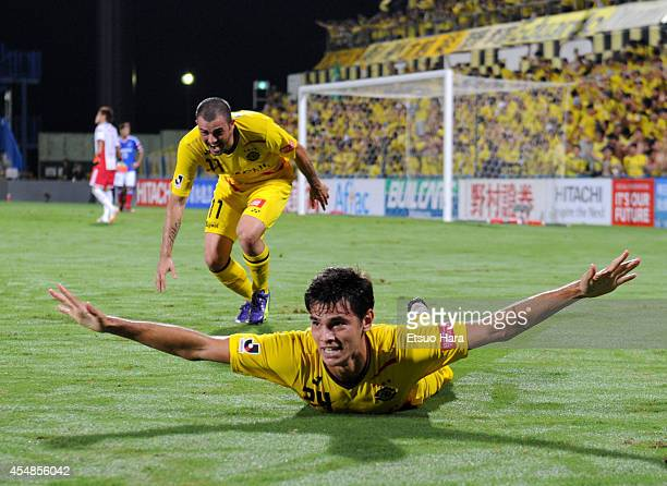 Eduardo, whose real name is Carlos Eduardo Bendini Giusti of Kashiwa Reysol celebrates scoring his team's third goal during the J.League Yamazaki...