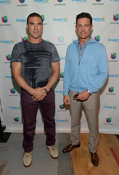 Eduardo Yanez and Fernando Colunga visit the set of 'Despierta America' to promote his film 'Ladrones' at Univision Studios on October 9, 2015 in...