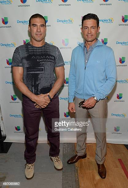 Eduardo Yanez and Fernando Colunga visit the set of 'Despierta America' to promote his film 'Ladrones' at Univision Studios on October 9 2015 in...