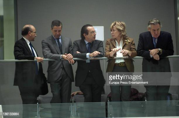 Eduardo Zaplana Pilar del Castillo and Miguel Blesa attend the investiture of Ana Botella as Madrid mayor during a ceremony at Palacio de Correos on...
