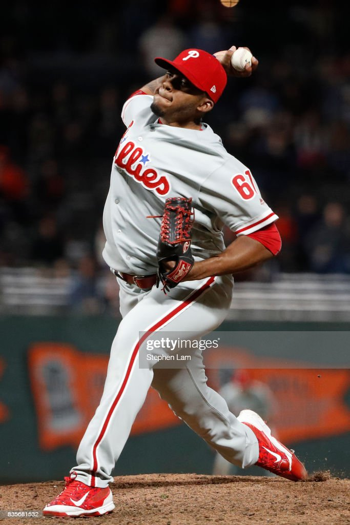 Edubray Ramos #61 delivers a pitch during ninth inning against the San Francisco Giants at AT&T Park on August 19, 2017 in San Francisco, California. The Phillies defeated the Giants 12-9.
