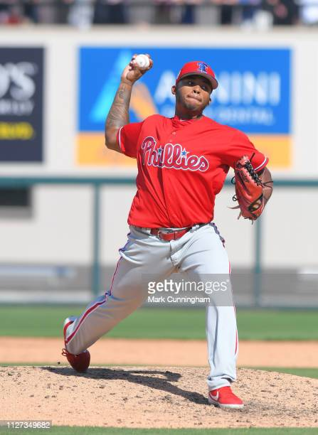 Edubray Ramos of the Philadelphia Phillies pitches during the Spring Training game against the Detroit Tigers at Publix Field at Joker Marchant...