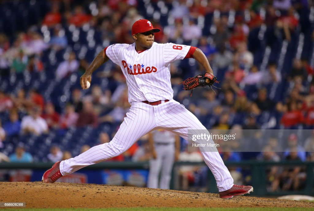 Edubray Ramos #61 of the Philadelphia Phillies throws a pitch in the 11th inning during a game against the St. Louis Cardinals at Citizens Bank Park on June 20, 2017 in Philadelphia, Pennsylvania. The Cardinals won 8-1 in 11 innings.