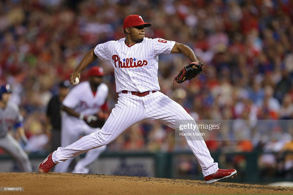 Edubray Ramos #61 of the Philadelphia Phillies throws a pitch in the seventh inning during a game against the New York Mets at Citizens Bank Park on July 16, 2016 in Philadelphia, Pennsylvania. The Phillies won 4-2.
