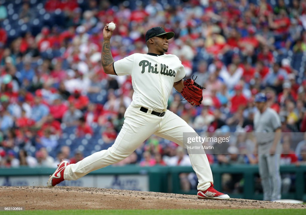 Edubray Ramos #61 of the Philadelphia Phillies throws a pitch in the sixth inning during a game against the Toronto Blue Jays at Citizens Bank Park on May 27, 2018 in Philadelphia, Pennsylvania. The Blue Jays won 5-3.
