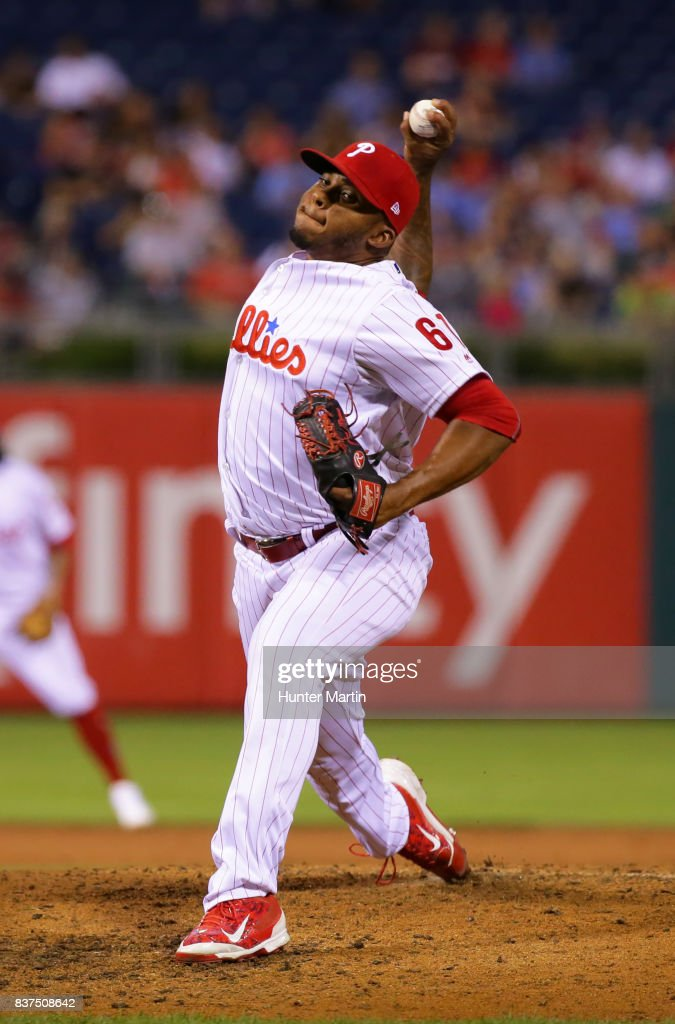 Edubray Ramos #61 of the Philadelphia Phillies throws a pitch in the second inning during game two of a doubleheader against the Miami Marlins at Citizens Bank Park on August 22, 2017 in Philadelphia, Pennsylvania.