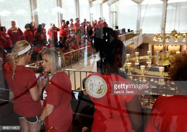 Education advocates fill the North Carolina House of Representatives on the General Assembly's opening day on May 16 2018 in Raleigh North Carolina...