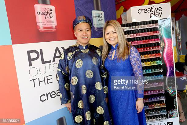 Education Ambassador John Nguyen and CND Education Ambassador Michele Huynh visit the CND booth during the 2016 Tet Festival on February 13, 2016 in...