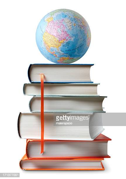 education. books with globe. - literature stock photos and pictures