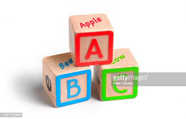 abc education building blocks - abc stock pictures, royalty-free photos & images