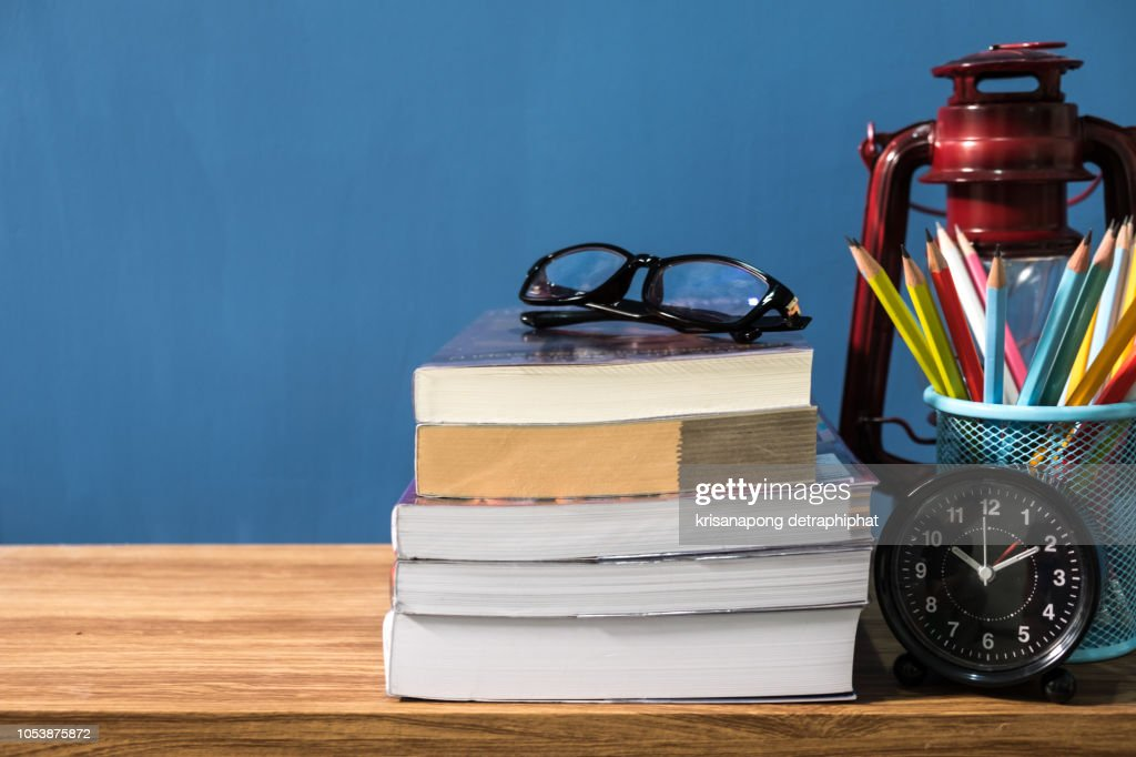 Education concept,School books on desk,idea concept,pencil ,Lantern : Stock Photo