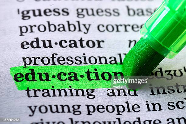 education definition highlighted in dictionary