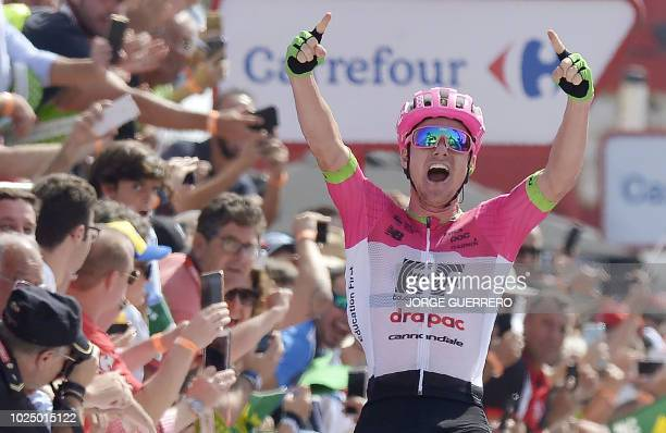 Education FirstDrapac's Australian cyclist Simon Clarke celebrates as he crosses the finish line winning the fifth stage of the 73rd edition of La...
