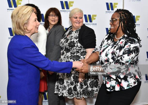 Education Fund Fellows of the Women's Forum of New York and honoree Hillary Rodham Clinton attend the 8th Annual Elly Awards hosted by the Women's...