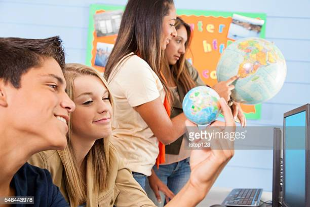Education: High school students in computer lab. Geography.