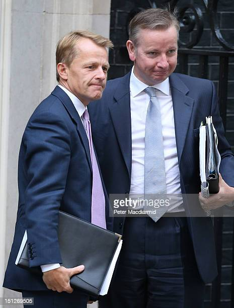 Education Minister David Laws arrives in Downing Street with Secretary of State for Education Michael Gove on September 5 2012 in London England...