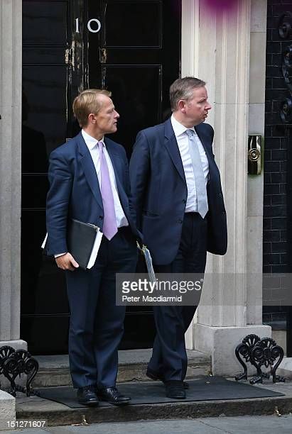 Education Minister David Laws leaves Downing Street with Education Secretary Michael Gove on September 5 2012 in London England Prime Minister David...