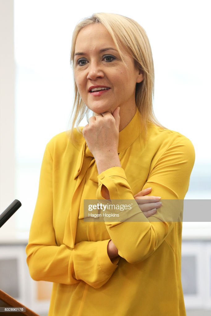 Education Minister Nikki Kaye speaks during an announcement at Mana College on August 17, 2017 in Wellington, New Zealand. Prime Minister Bill English announced $9 million will be invested in the redevelopment of Mana College. The redevelopment will involve the demolition of some existing facilities, the remediation and modernisation of other buildings and the creation of new, flexible learning spaces.