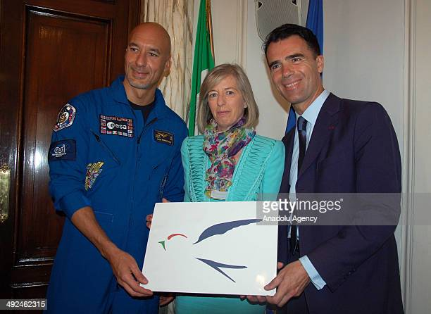 Education Minister of Italy Stefania Giannini Sandro Gozi in charge of the PD European policies and Italian astronaut Luca Parmitano the ambassador...