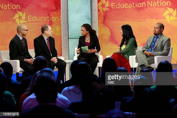 New York Summit Day 1 Pictured Derrell Bradford Jonathan Alter Melissa HarrisPerry Lily Eskelsen and Julian Vasquez Heilig at NBC News' Education...