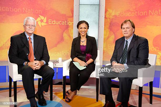 New York Summit Day 1 Pictured George Miller Melissa HarrisPerry and William Hansen at the Student Town Hall at NBC News' Education Nation Summit at...