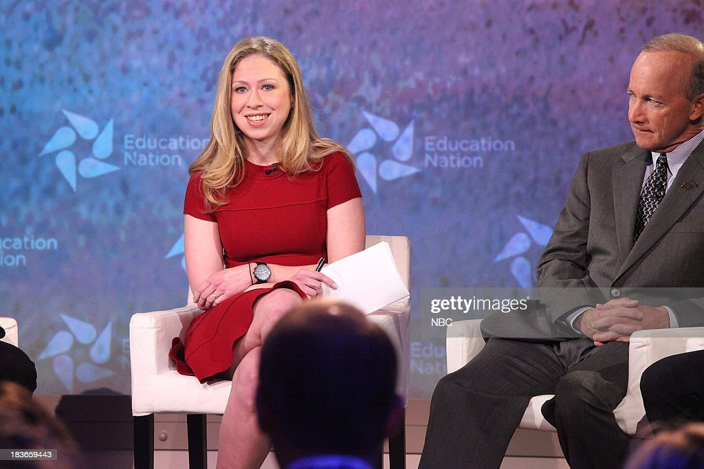 Chelsea Clinton, Special Correspondent for NBC News, and Mitch Daniels, President of Purdue University, IN. --